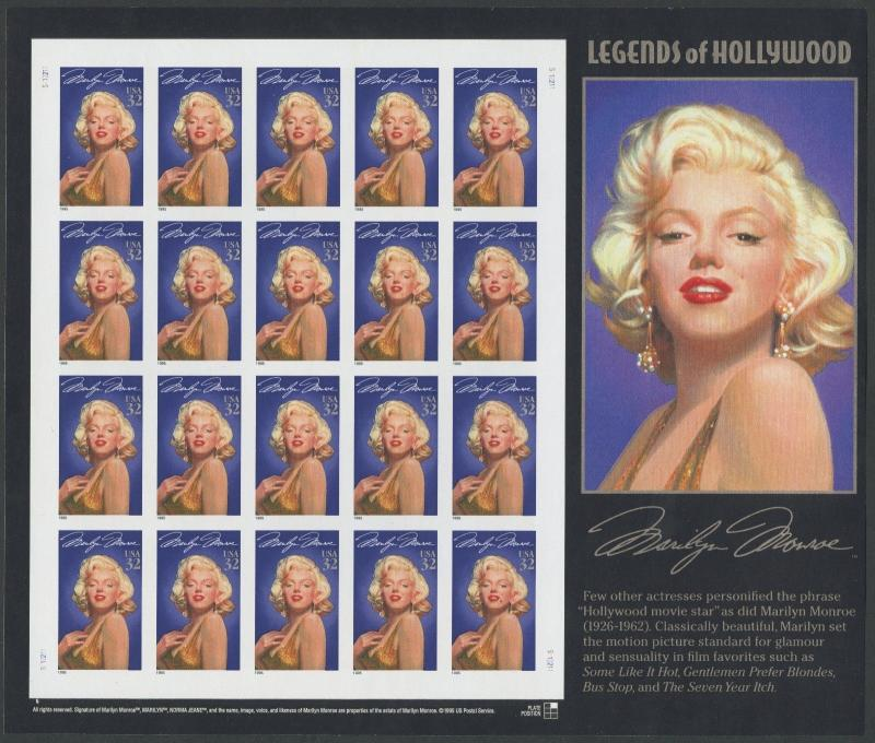 #2967a IMPERF UNUSED PANE OF 20 MARILYN MONROE MAJOR ERROR W/ PF CERT WL8137