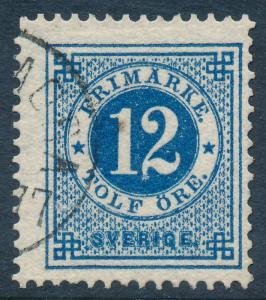 Sweden Scott 32/Facit 32b, 12ö blue Ringtyp p.13, Fine Used