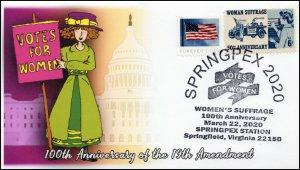 20-077, 2020, 19th Amendment, Pictorial Postmark, Event Cover, Springfield VA, S