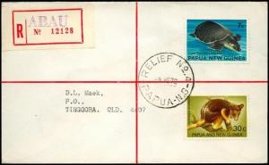 PAPUA NEW GUINEA 1972 Registered cover RELIEF cancel used at ABAU..........91377
