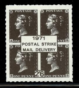 GREAT BRITAIN 1971 STRIKE POST LABELS 2s6d PENNY BLACK Issue MNH