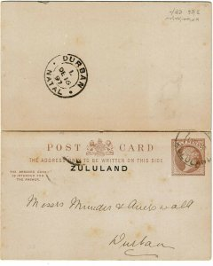 Zululand 1897 partial Eshowe cancel on postal reply card to Natal