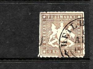 WURTTEMBERG  1865-68   9K  BROWN   FU   ROUL   SG 68