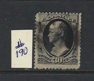 US #190 1879 ALEXANDER HAMILTON 30 CENT (FULL BLACK) - USED