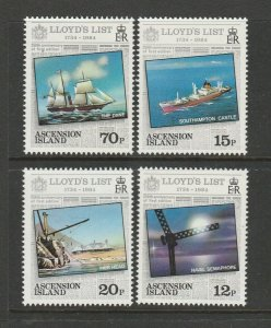 Ascension 1984 Lloyds List, Ships, UM/MNH SG 359/62