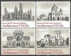 USA 1980 15 cents Architecture Block of 4 Never Hinged, Scott#1838-41
