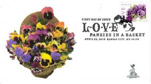 Pansies: Love in a Basket First Day Cover, w/ b&w