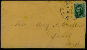 #15 W/ 2 CLEAR MARGINS ON COVER BLACK NEVADA CITY,CAL CDS TO LOWELL,MASS BQ6396