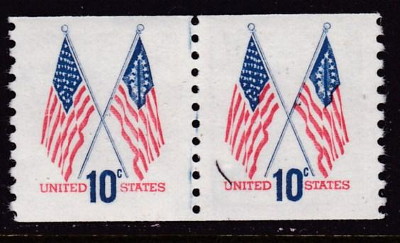 U.S. 1963 Scott 1519 Coil Line Pair 10c Crossed Flags Bell VF/NH(**)