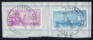 Isle of Man 10/- Purple and 5/- Blue QEII Pictorial Revenues CDS On Piece