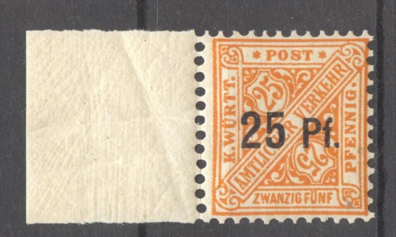 Wuerttemberg 1916 Overprint 25, Mi. 240 y MNH, signed as such Klinkhammer, BPP