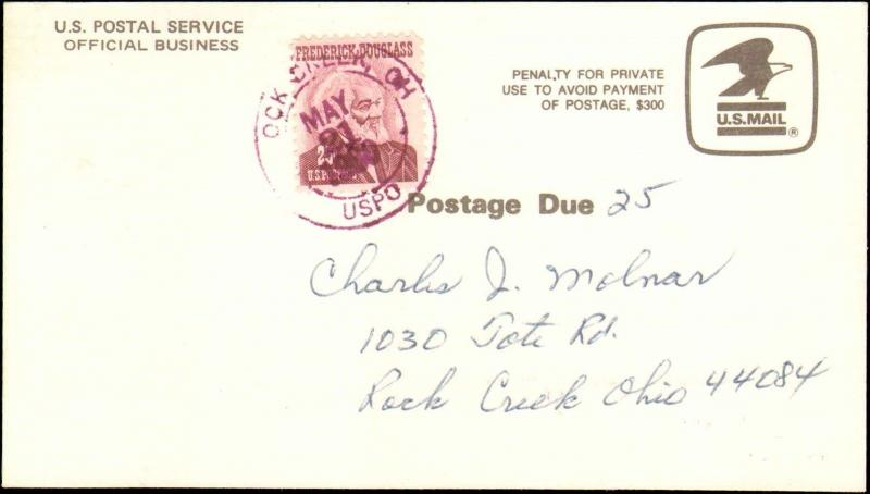 1980 ROCK CREEK OHIO 25 CENT DOUGLAS ON OFFICIAL CHANGE OF ADDRESS FORM