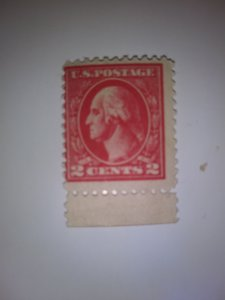 SCOTT #461 PALE CAR RED WASHINGTON MINT WITH TAB VERY DESIRABLE STAMP !!!