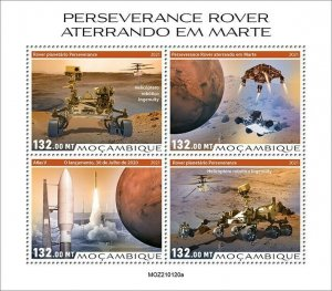 Mozambique 2021 MNH Space Stamps Perserverance Rover Mars Landing 4v M/S