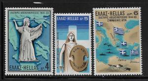 GREECE, 959-961, MNH, BATTLE OF WWII
