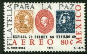 MEXICO C385 Stamp on stamp Exfilca70 Caracas, Venezuela MINT, NH. F-VF.