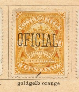 Costa Rica 1892 Early Issue Fine Mint Hinged 2c. Official Optd NW-09206