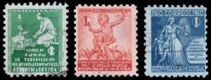 Cuba Scott RA1, RA2, RA3 Postal Tax Stamps (1938-40) Used H F-VF