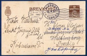 Denmark (P248) 1937 Postal Stationery Kovenhavn To Sweden Used 1932 Brevkort..9.