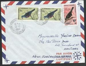 NEW CALEDONIA 1969 cover to NZ - PONERIHOUEN cds, Bird franking............59116