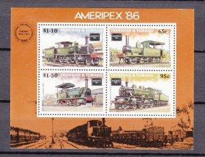 Z2971 1986 trinidad & tobago s/s mnh #450a trains