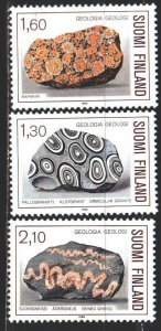 Finland. 1986. 982-84. Ornamental stone, granite, geology. MNH.