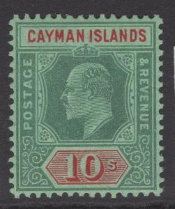 CAYMAN ISLANDS SG34 1908 10/= GREEN & RED/GREEN MTD MINT