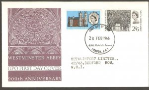 1966  WESTMINSTER ABBEY FIRST DAY COVER  WITH  BUREAU CANCEL