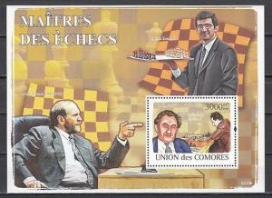 Comoros Is., Mi cat. 2063, BL466 A. Chess Masters s/sheet.