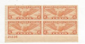 United States,C19,Winged Globe Airmail Plate Block(4) VF,MNH