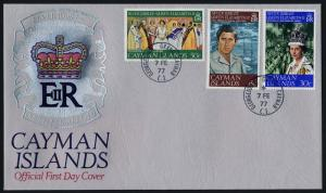 Cayman Islands 379-81 on FDC - Queen Elizabeth Silver Jubilee