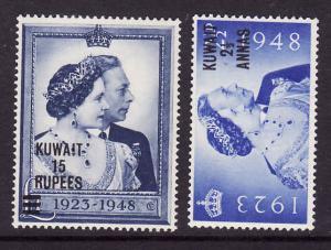 Kuwait-Sc#82-3-unused NH set-KGVI-Silver Wedding-1948-