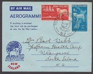NEW ZEALAND 1957 Sheep set on commem FDC aerogramme - special pmk...........B833
