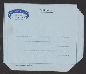 BRITISH HONDURAS 1960s OHMS OFFICIAL Aerogramme Air Letter Unused
