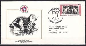 Monaco, Scott cat. 1021. American Bicentennial issue. First day cover.