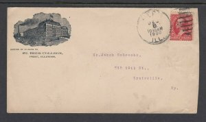1900 ST. BEDE COLLEGE, Peru Ill. Cover - Nice cancel and markings