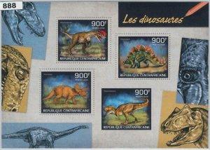 888  - CENTRAL AFRICAN R. - ERROR - MISSPERF stamp sheet 2014  DINOSAURS
