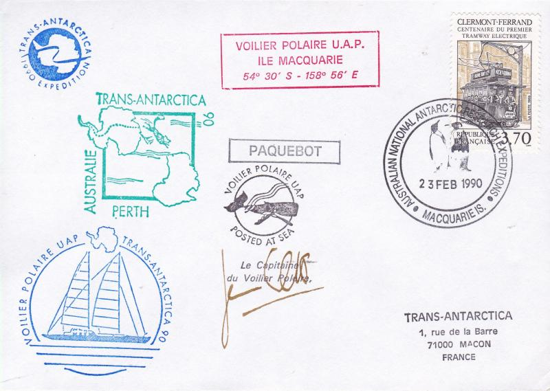 Voilier Polare UAP 1990 Ship Cover Signed By Captain. Antarctic Research Vessel