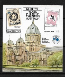 NIUAFO'OU, 50, MNH, SS,WORLD EXHIBITION BUILDING AUSIPEX'84