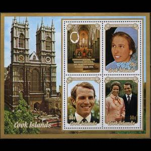 COOK IS. 1973 - Scott# 371a S/S Royal Wedding NH