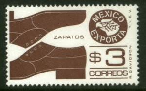 MEXICO Exporta 1118, $3P Shoes, Perf. 14, Fluor Paper 7. MINT, NH. VF.
