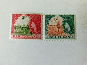 Basutoland #49 & #51, Mint/NH/CF, 3d & 6d, from Definitive Set 1954