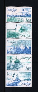 SWEDEN 1410-1414 Booklet Pane 2 each, MNH, 1982 Various Buoy Signals