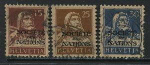 Switzerland 1922 3 values overprinted Societie des Nations used
