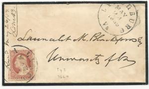US Scott #25 Tied on Mourning Cover May 24, 1859 Lynchburg, VA