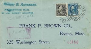 U.S., Scott #378 and 407 Used on 1914 Registered Cover, Many Markings, Fine