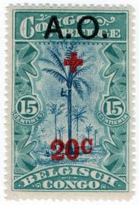 (I.B) Belgian Congo Postal : Red Cross Overprint 20c