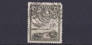 ANTIGUA  1938  S G  107   5/-   OLIVE GREEN  USED