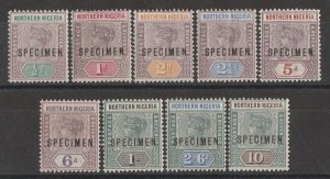 NORTHERN NIGERIA : 1900 QV set ½d to 10/- SPECIMEN. MNH **.