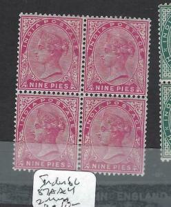 INDIA (PP1502B) QV  9P   SG 87A  BL OF 4  ,  2   MNH